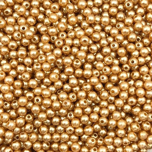 PE117 - Pérola de Resina 4m Ouro Rose - 10Grs