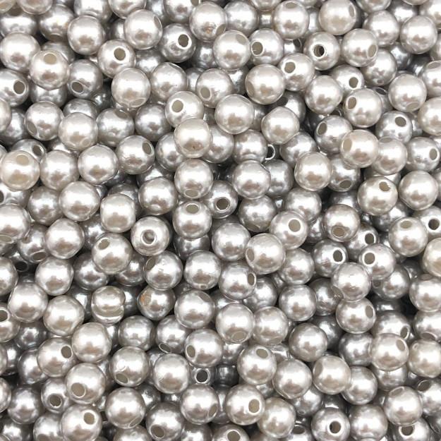PE145 - Pérola de Resina 5m Prata - 10Grs