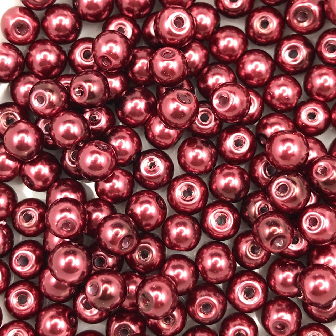 PE192 - Pérola de Vidro Vermelho Vinho 6mm - 150Unids