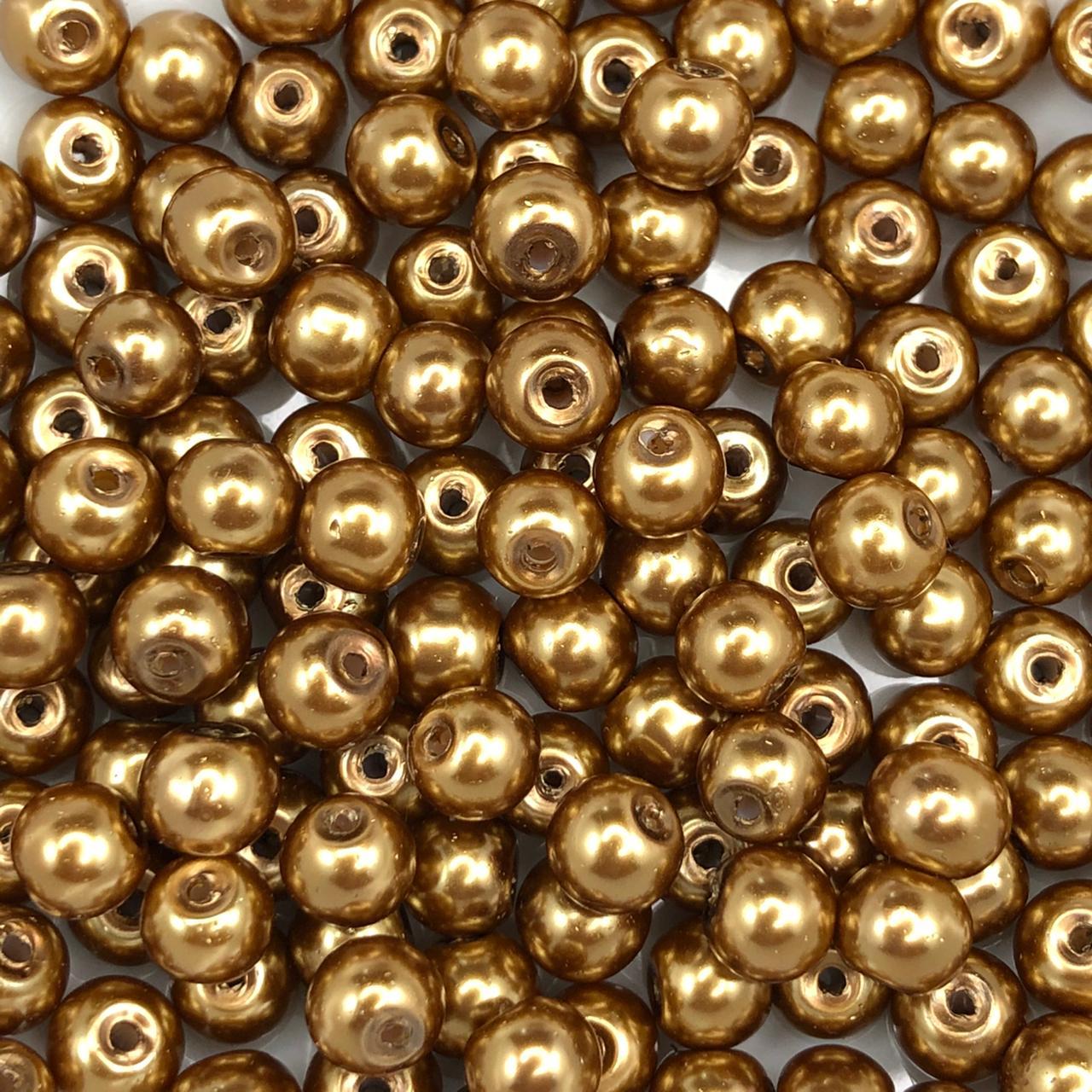 PE194 - Pérola de Vidro Dourado 6mm - 150Unids