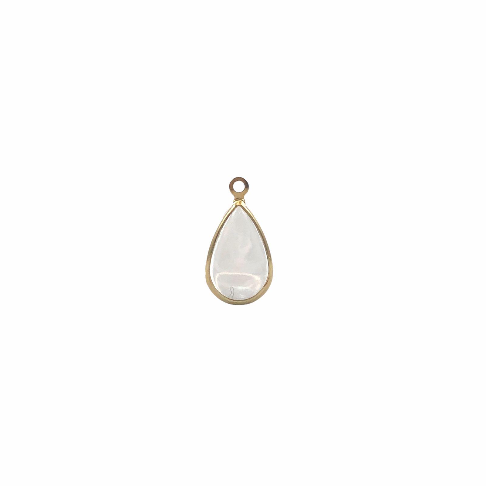 PG673 - Pingente de Vidro Cristal 13mm Banhado Cor Dourado - 04Unids