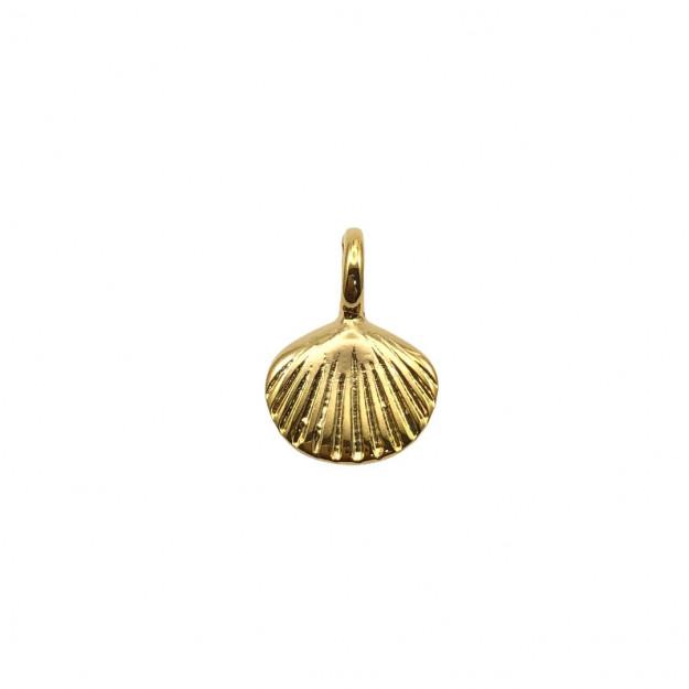 PG752 - Pingente Concha Dupla Banhado Cor Dourado - 01Unid