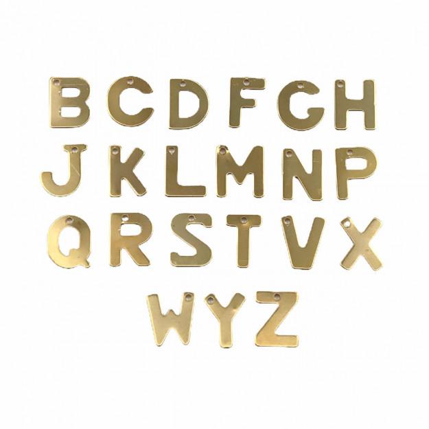 PG770 - Pingentes Letras Consoantes 8mm Banhado Cor Dourado - 21Unids