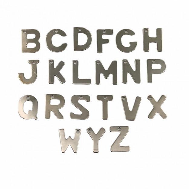 PG771 - Pingentes Letras Consoantes 8mm Banhado Cor Prata - 21Unids