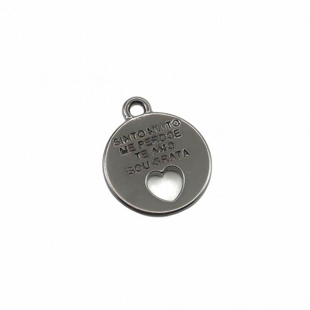 PG829 - Pingente Medalha Banhado Cor Grafite - 01Unid