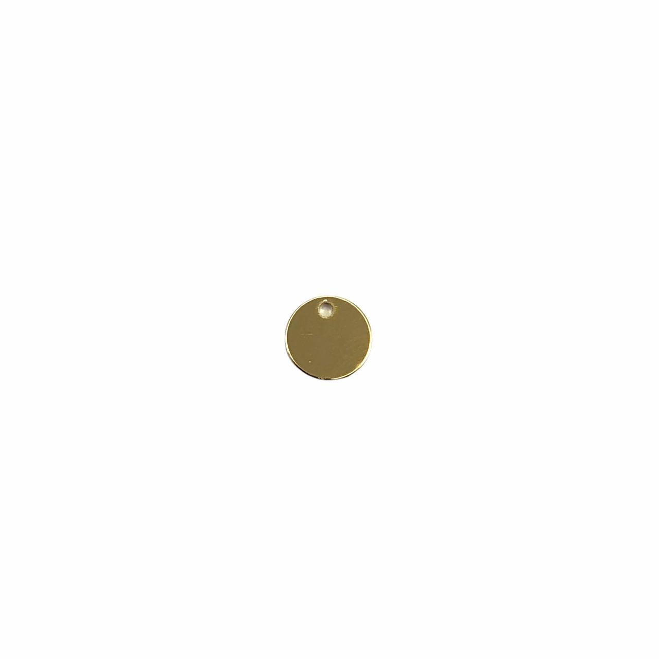 PG848 - Pingente Redondo 6mm Banhado Cor Dourado - 10Unids