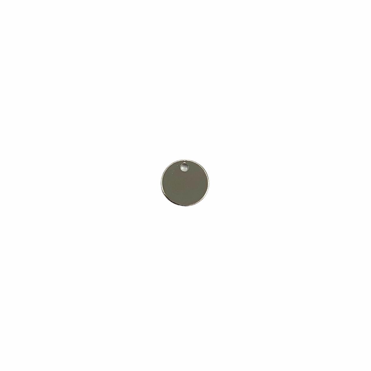PG849 - Pingente Redondo 6mm Banhado Cor Prata - 10Unids