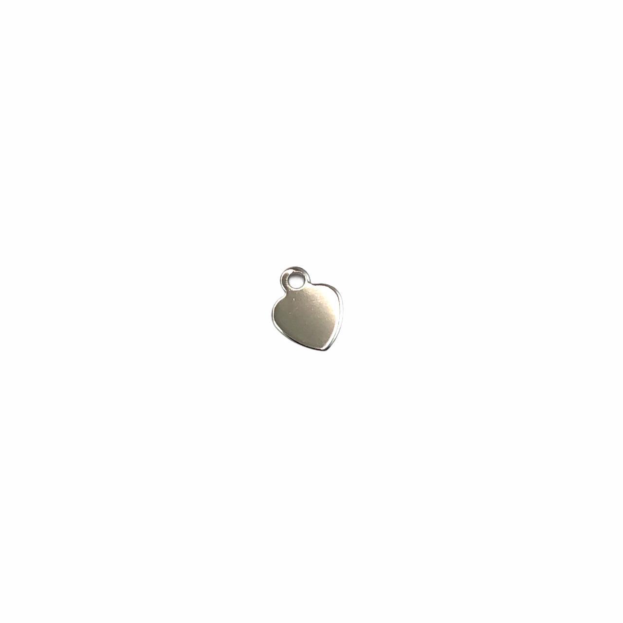 PG855 - Pingente Coração 5mm Banhado Cor Prata - 1Grs