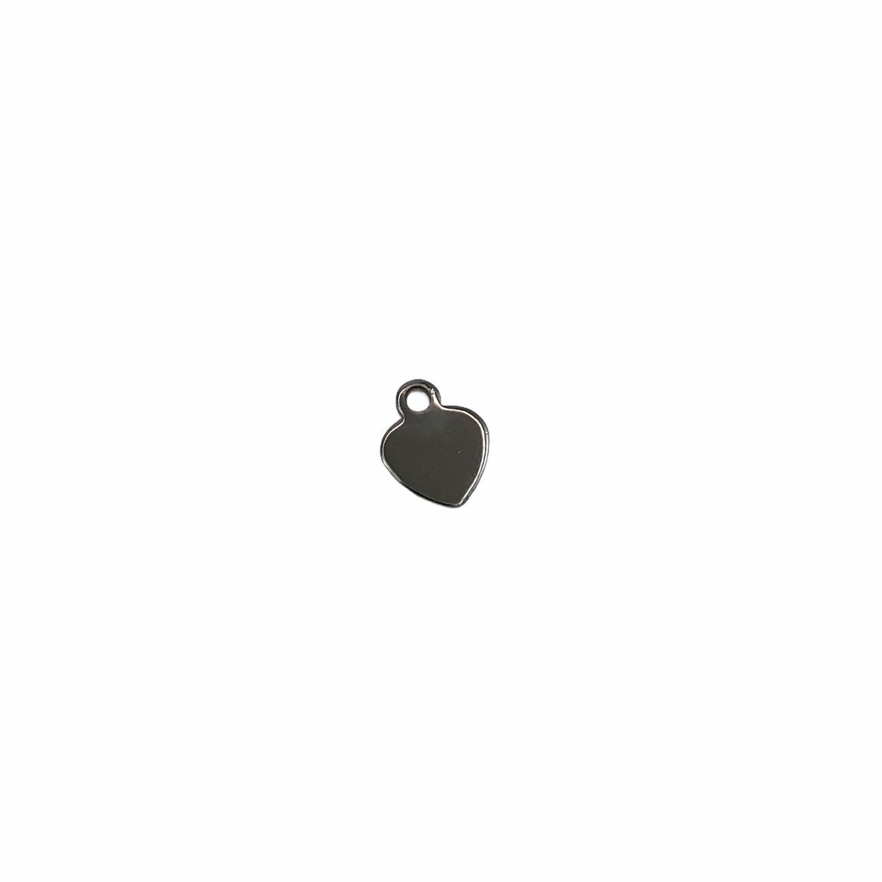 PG856 - Pingente Coração 5mm Banhado Cor Grafite - 1Grs