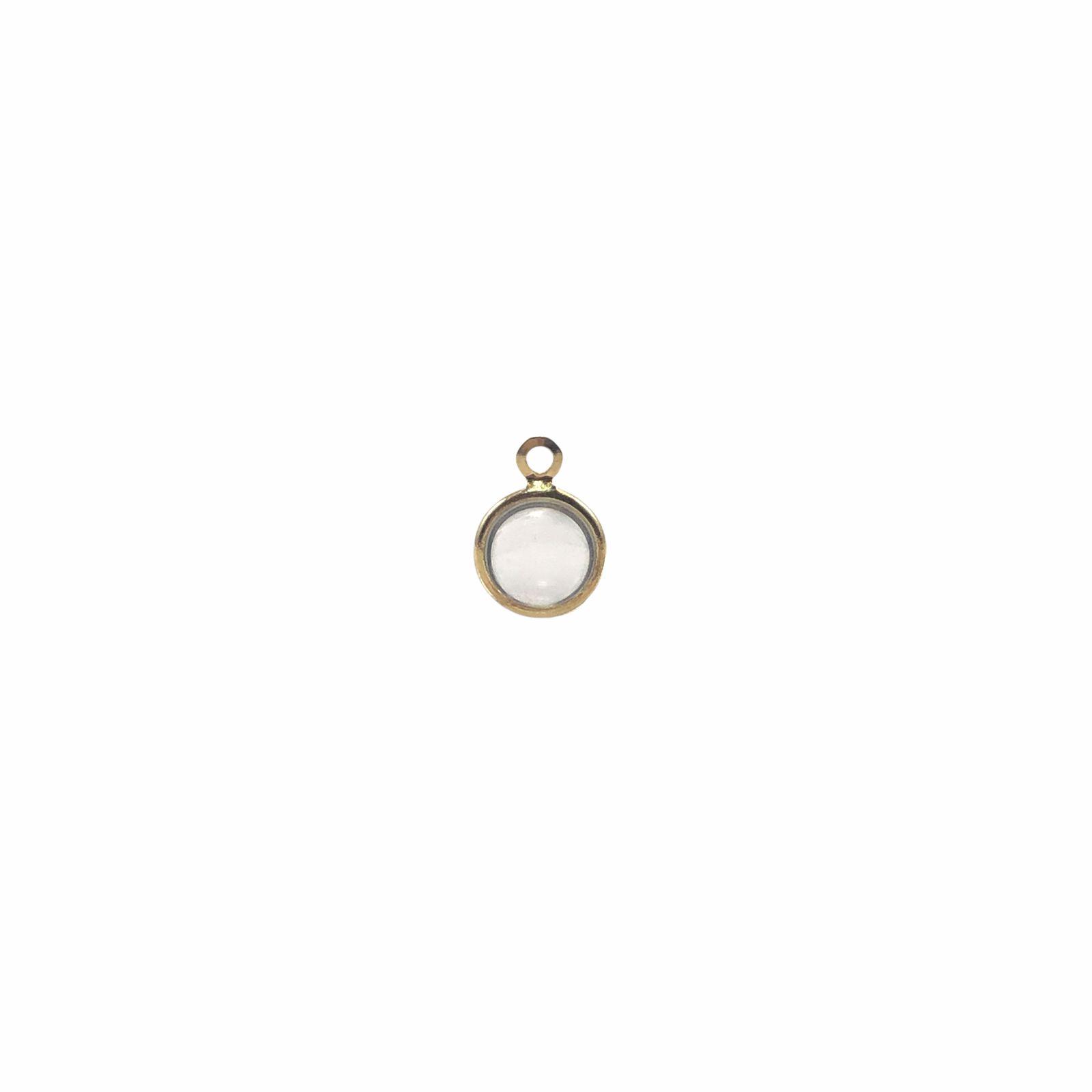 PG860 - Pingente De Vidro Cristal 8mm Banhado Cor Dourado - 04Unids
