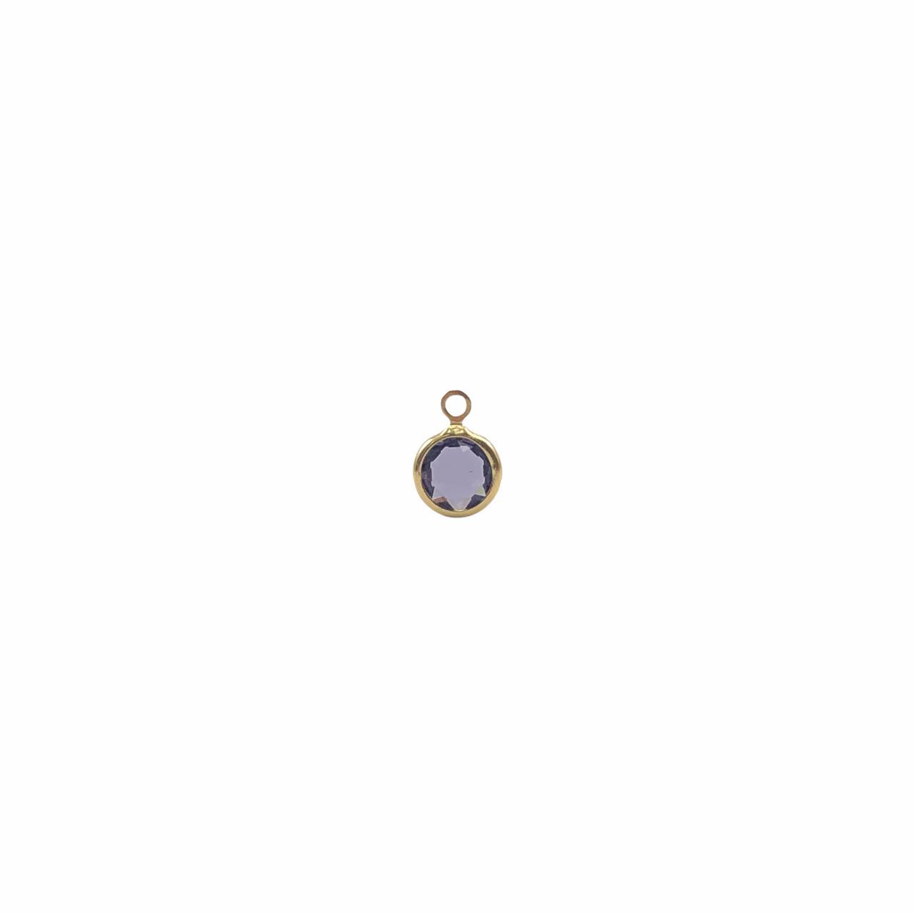 PG893 - Pingente De Vidro Roxo 6mm Banhado Cor Dourado - 04Unids