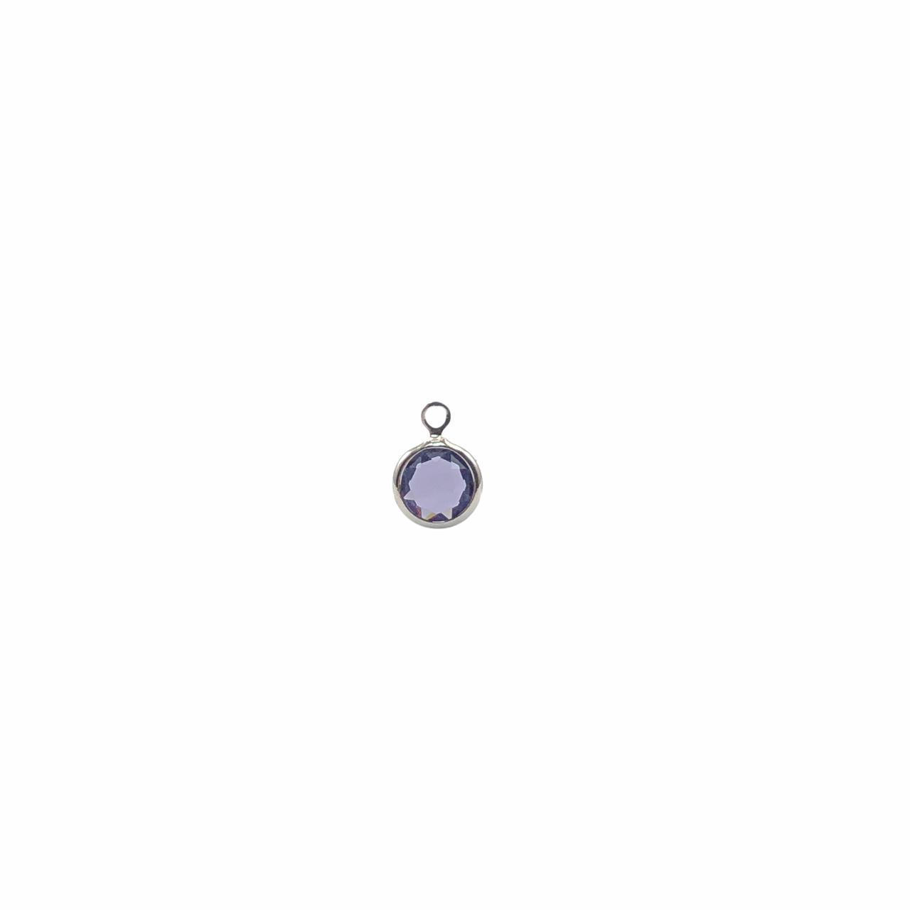 PG894 - Pingente De Vidro Roxo 6mm Banhado Cor Prata - 04Unids