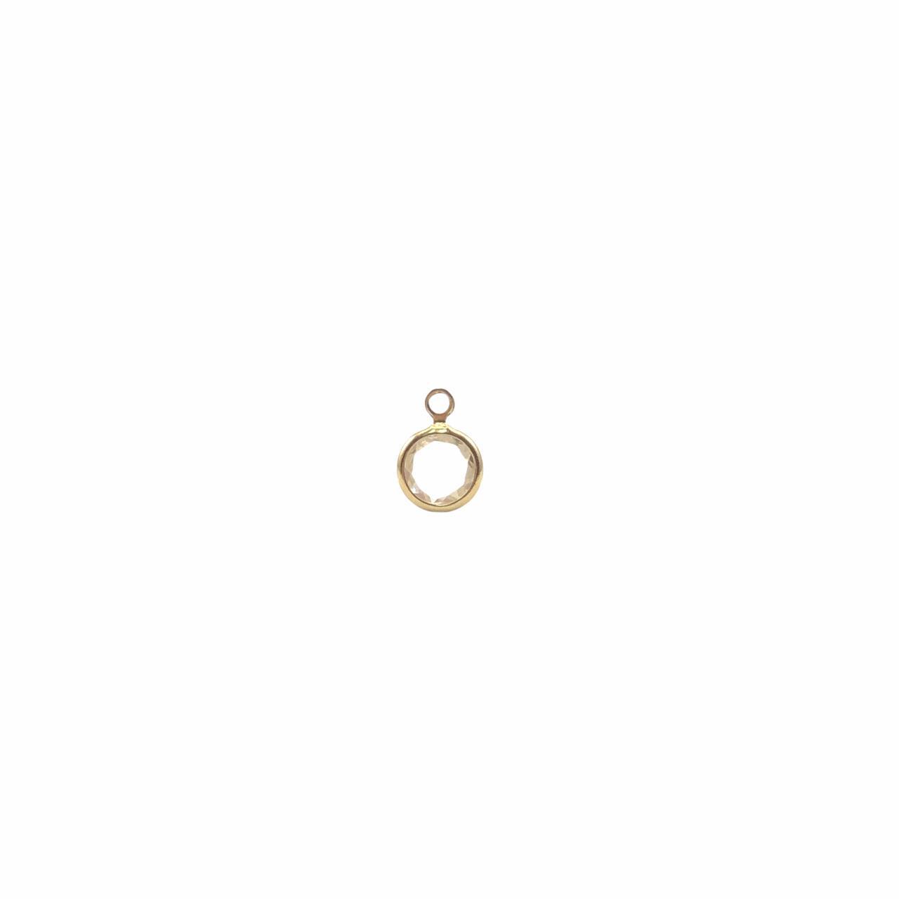 PG896 - Pingente De Vidro Cristal 6mm Banhado Cor Dourado - 04Unids