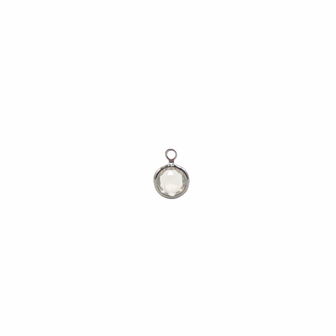 PG897 - Pingente De Vidro Cristal 6mm Banhado Cor Prata - 04Unids