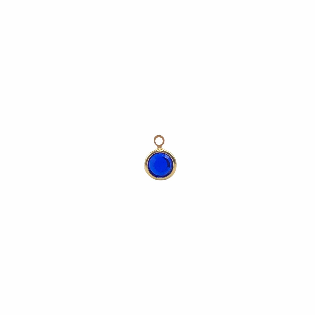 PG899 - Pingente De Vidro Sapphire 6mm Banhado Cor Dourado - 04Unids