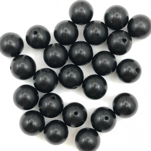 PN108 - Pedra Natural Meio Furo Agata Negra 10mm - 02Unids