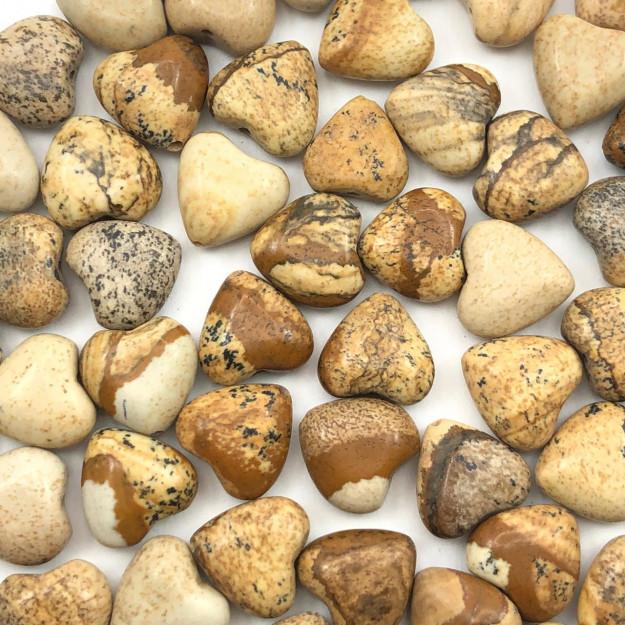 PN112 - Coração Pedra Natural 10mm Jaspe Madeira - 04Unids