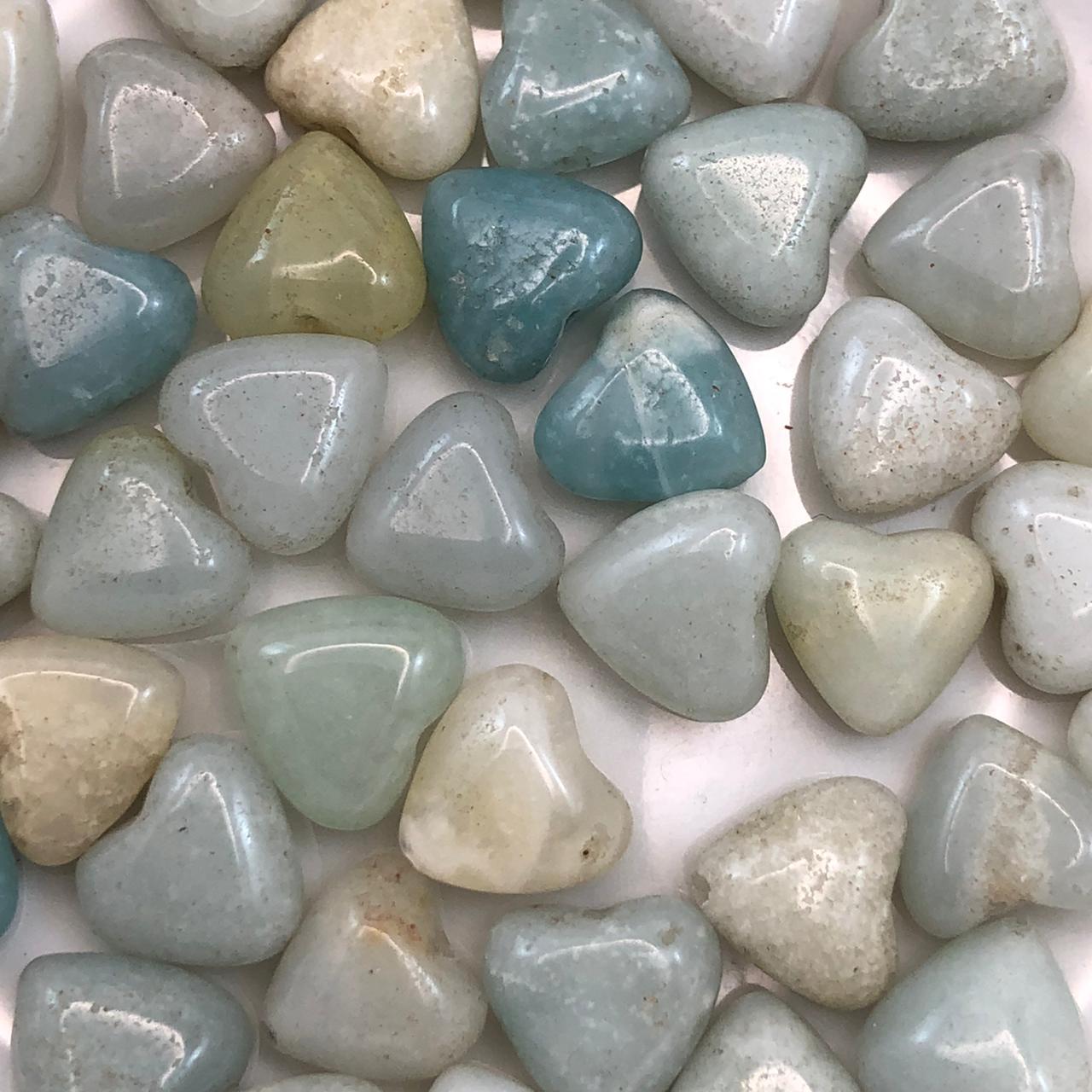 PN126 - Coração Pedra Natural 10mm Amazonita - 04Unids