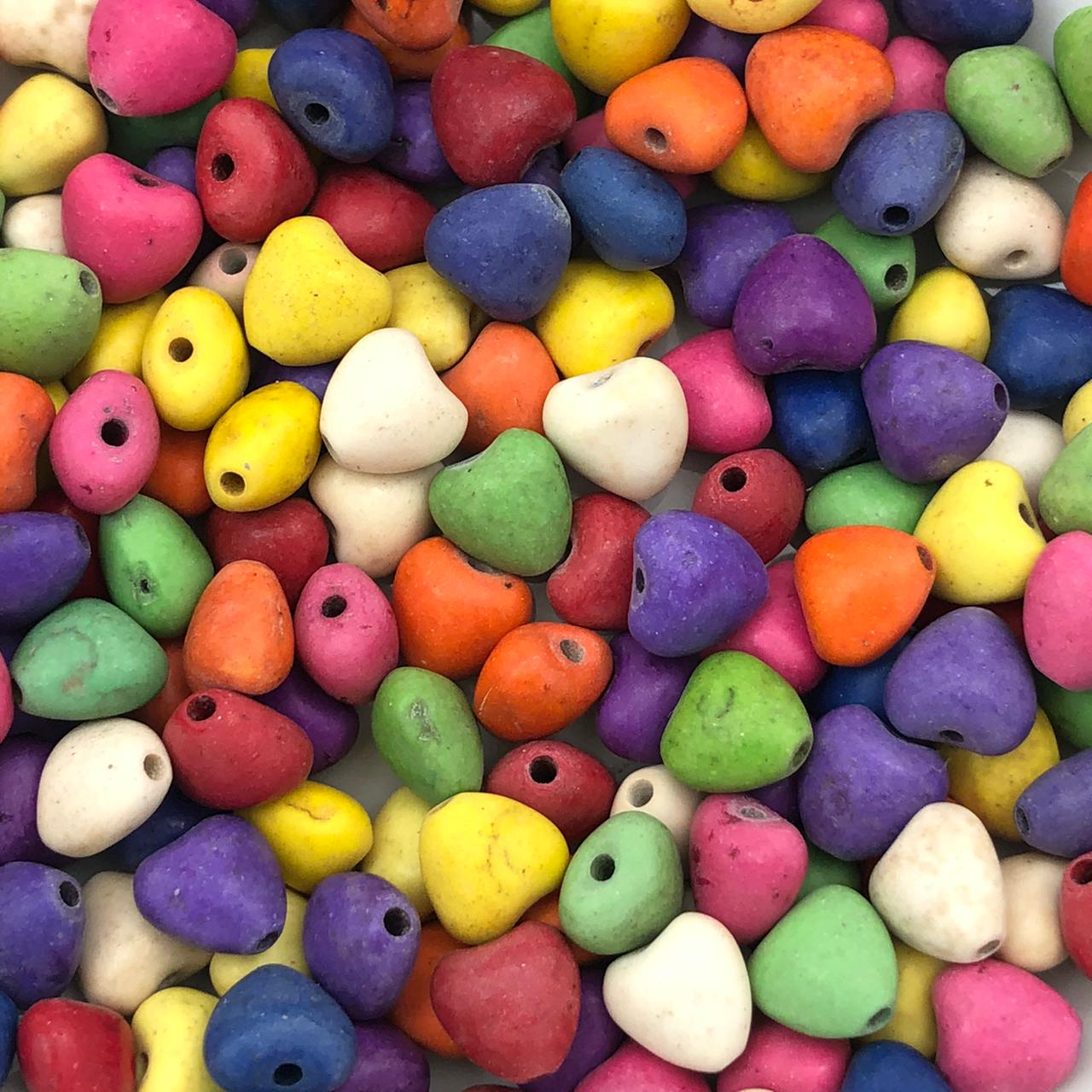 PN115 - Coração Pedra Natural Howlita Colorida 8mm - 10Unids