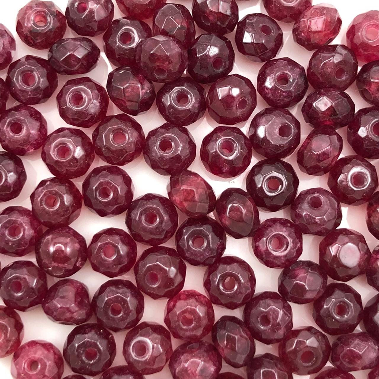 PN130 - Rondel Facetado 6mm Pedra Natural Ruby  - 12Unids