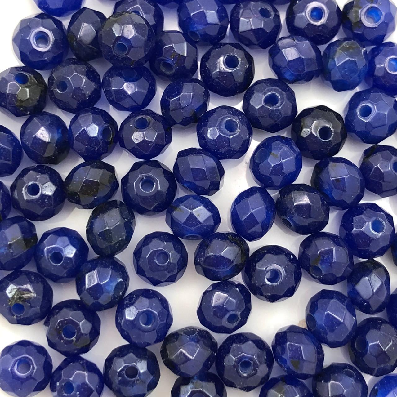 PN131 - Rondel Facetado 6mm Pedra Natural Quartzo Azul - 12Unids