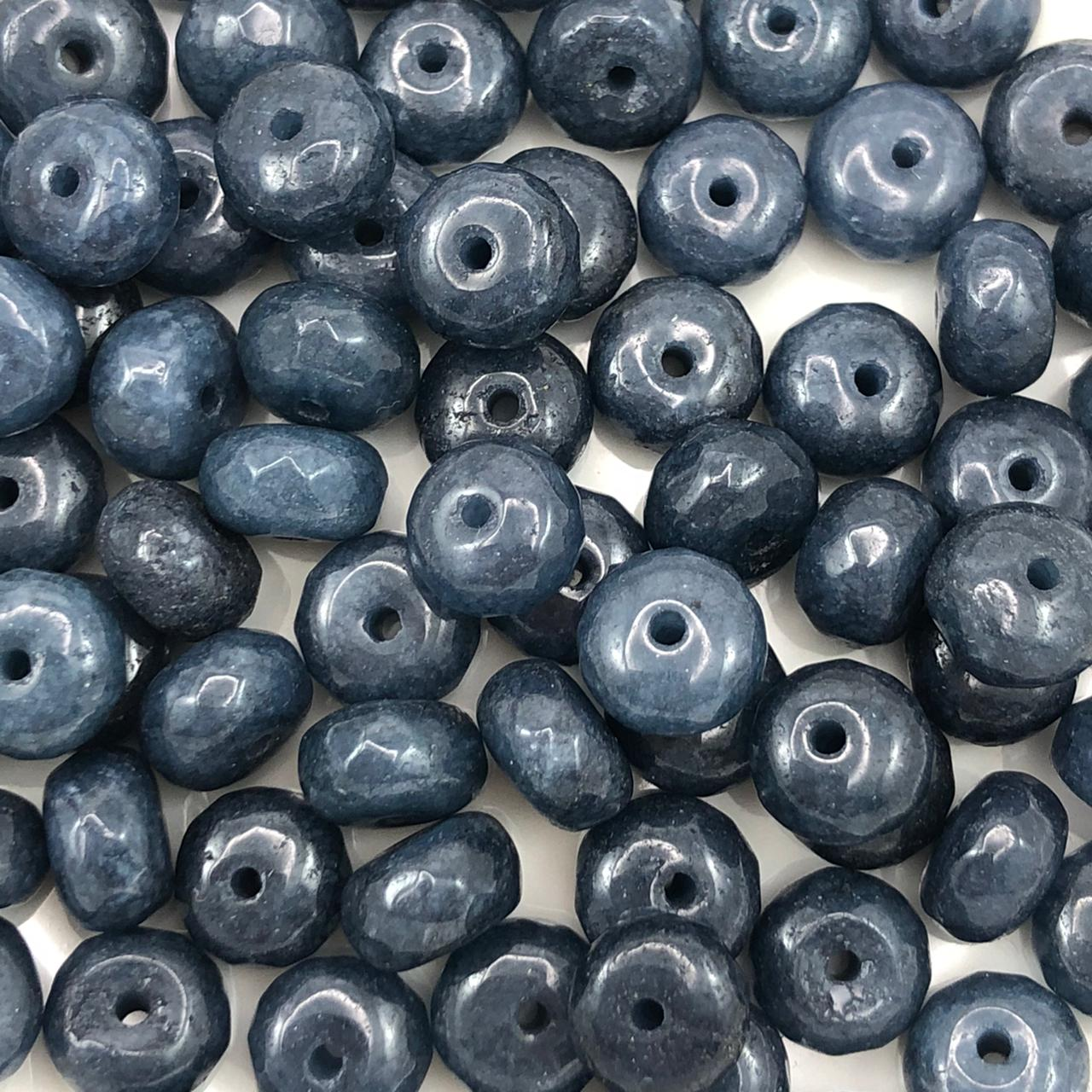 PN134 - Rondel Facetado 8mm Pedra Natural Quartzo Azul Escuro  - 12Unids