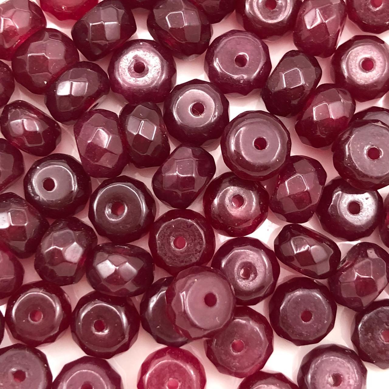 PN135 - Rondel Facetado 8mm Pedra Natural Ruby  - 12Unids