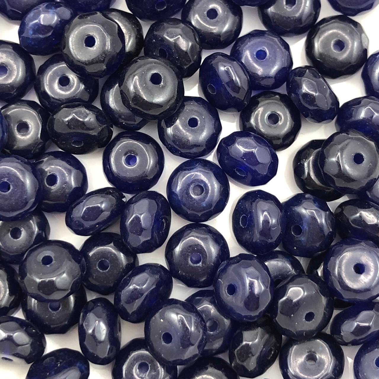 PN136 - Rondel Facetado 8mm Pedra Natural Quartzo Azul - 12Unids