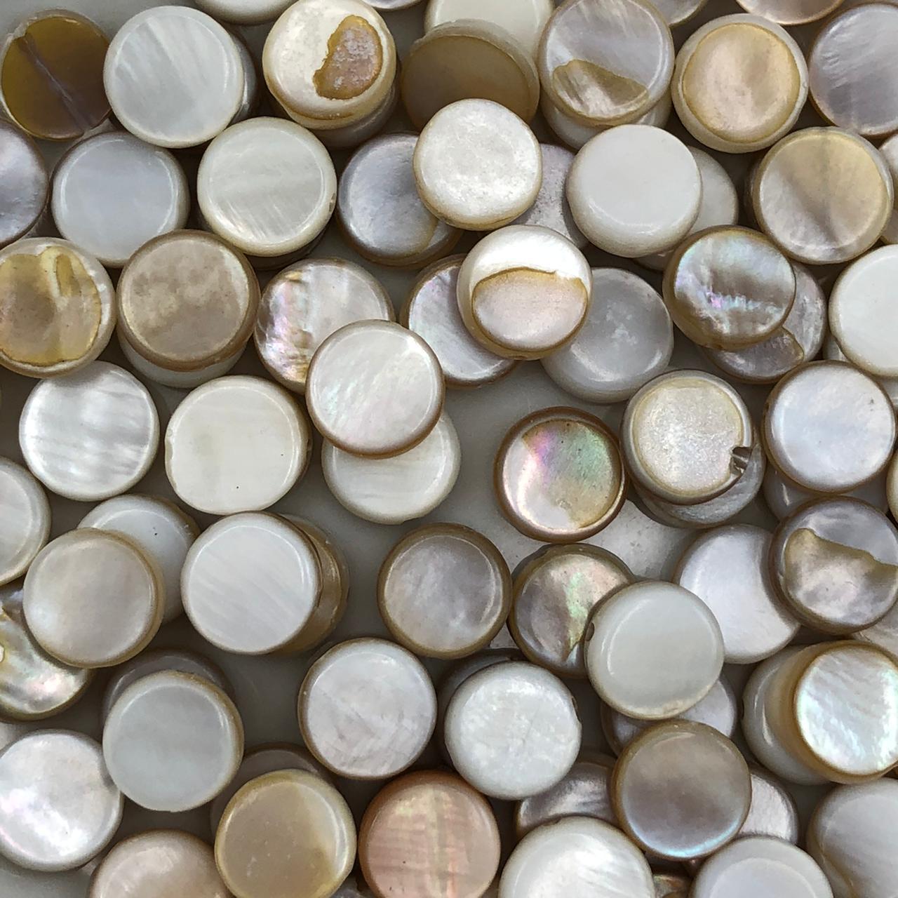 PN137 - Pastilha de Madre Perola Natural 8x7mm Marfim  - 25Unids