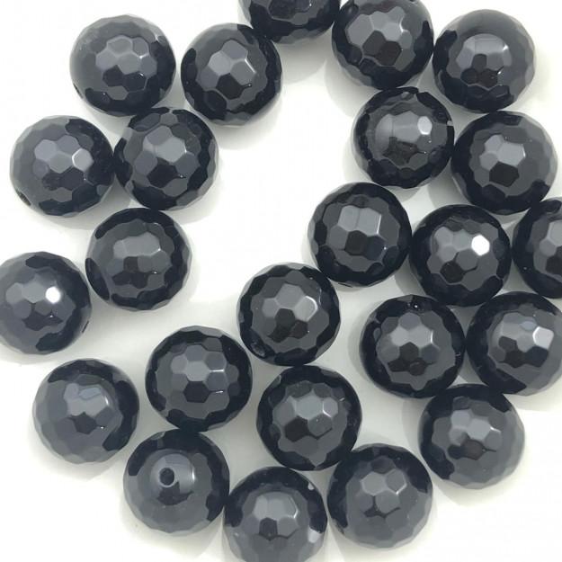 PN53 - Pedra Natural Meio Furo Onix Black Facetada 10mm - 02Unid