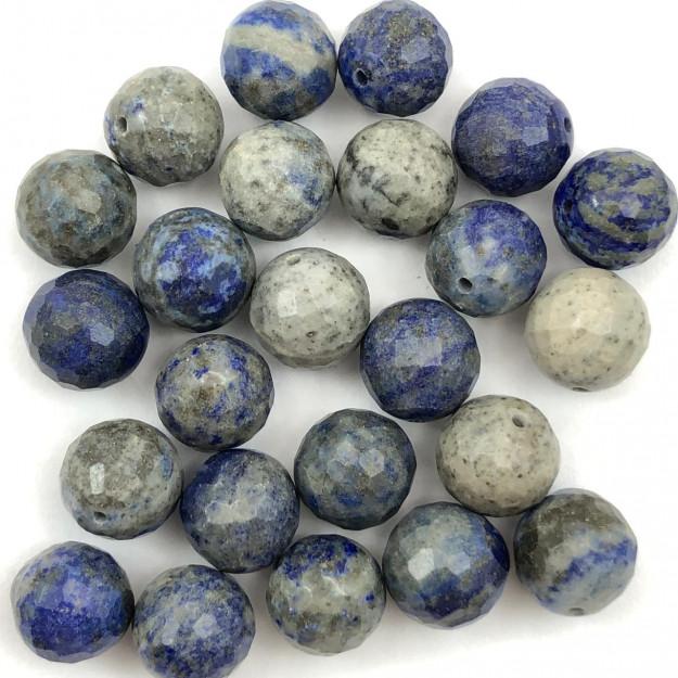 PN55 - Pedra Natural Meio Furo Sodalita Facetada 10mm - 02Unids
