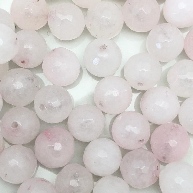PN60 - Pedra Natural Meio Furo Quartzo Rosa Facetada 10mm - 02Unids
