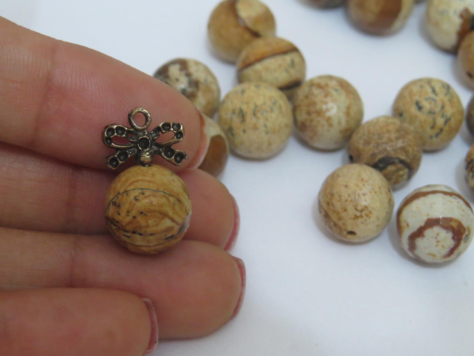 PN68- Pedra Natural Meio Furo Jaspe Madeira Facetada 12mm - 02Unid