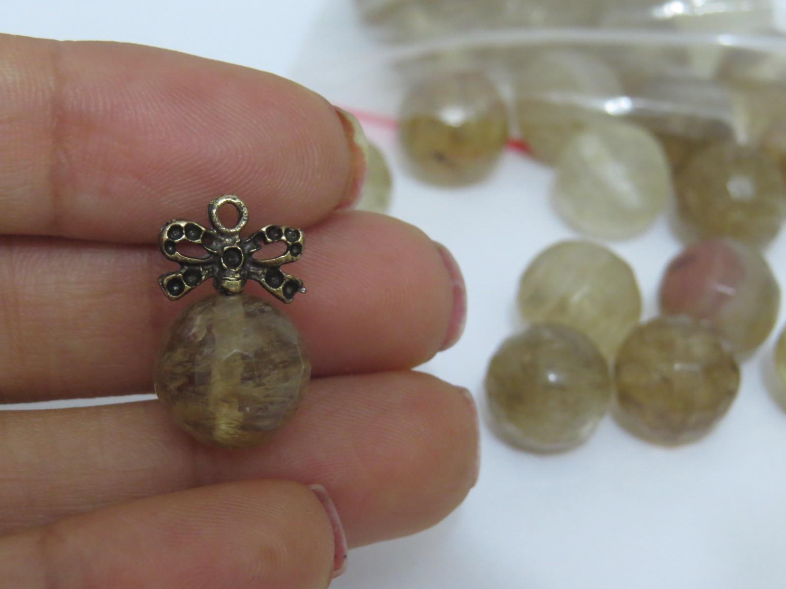 PN69- Pedra Natural Meio Furo Brown Glass Facetada 12mm - 02Unid