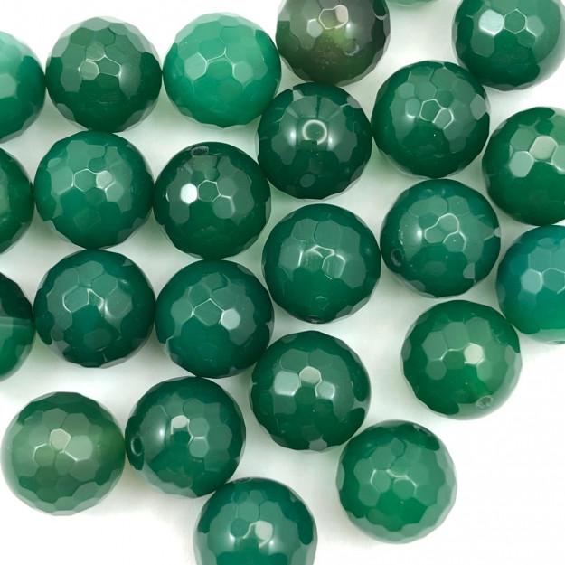 PN72- Pedra Natural Meio Furo Agata Verde Facetada 12mm - 02Unids