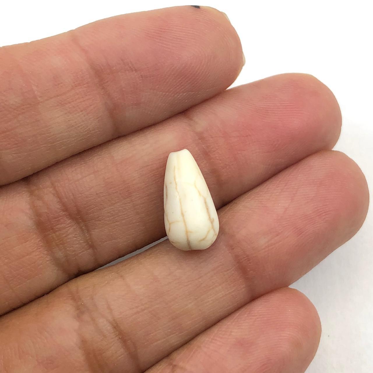 PN98 - Gota Pedra Natural Bege 14mm - 04Unids