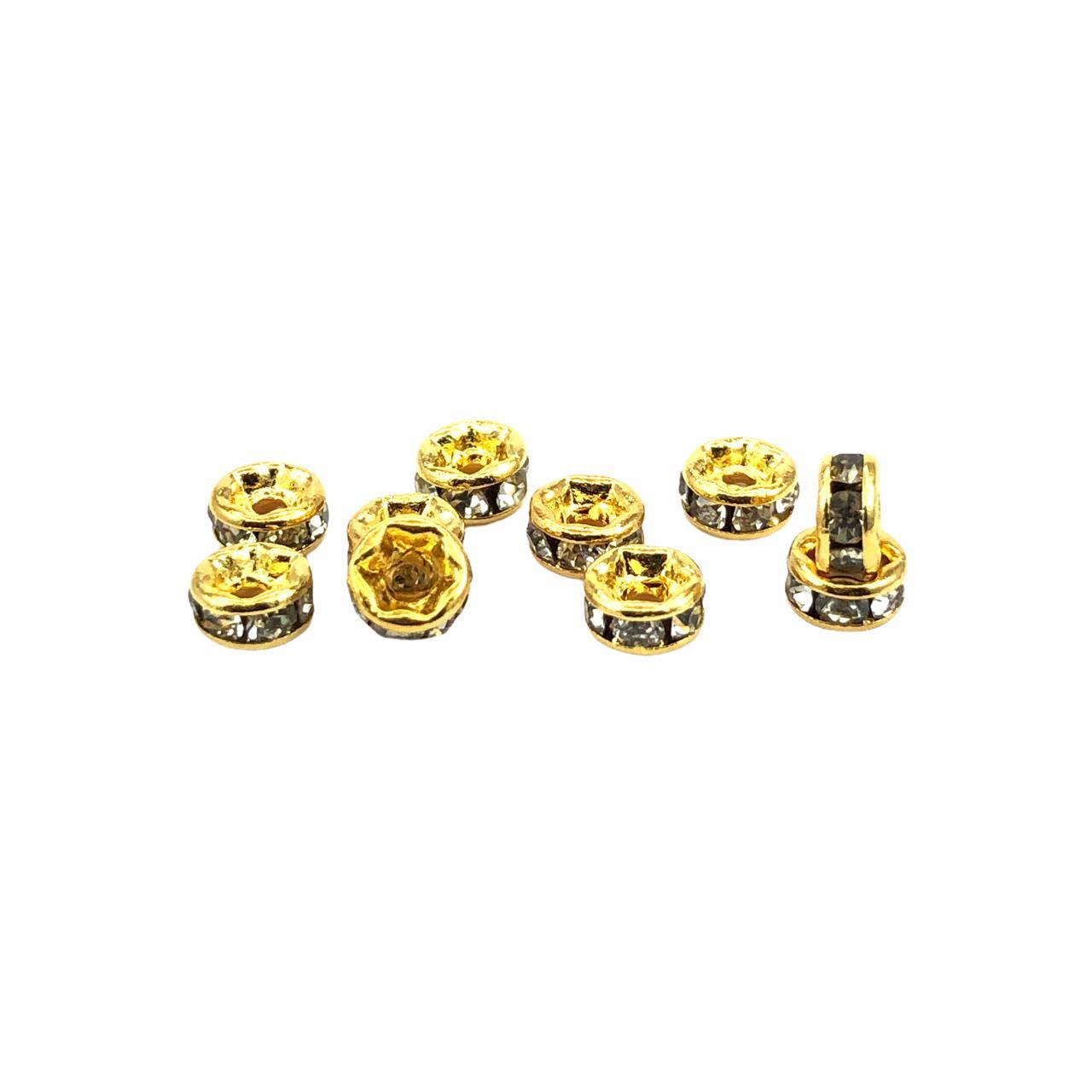 RD17 - Rondelle Redondo Cristal Banhado Cor Dourado 4mm - 10Unids