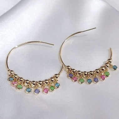 Argola com Tiffanys Coloridas
