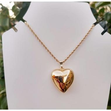 Cordão Baiano Com Pingente de Coração Grande