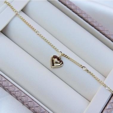 Pulseira Diamantada Com Pingente de Coração