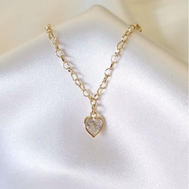 Tornozeleira Coração Cristal