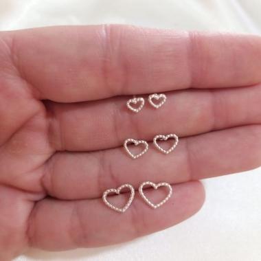 Trio Coração Pontilhado Prata 925