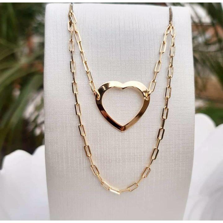 Corrente Cartier Duplas Com Coração Vazado
