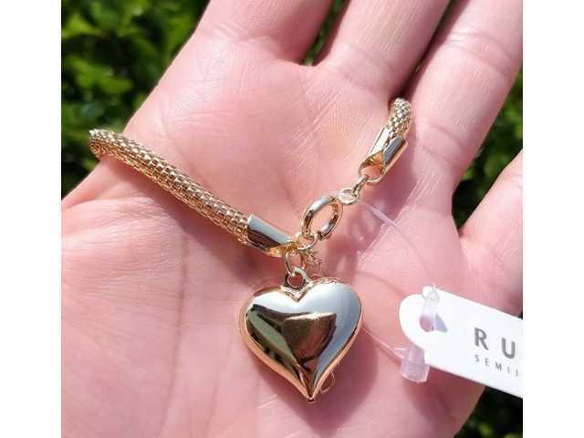 Pulseira C/ Pingente Coração Médio