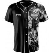 Camisa Estampada de Baseball Caveira