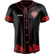 Camisa Estampada de Baseball Rosa