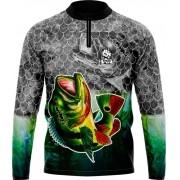 Camisa Estampada de Pesca Verde