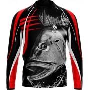 Camisa Estampada de Pesca Vermelha