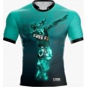 Camisa Estampada Free Fire Verde Agua