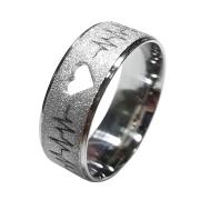 Aliança Namoro Aço Inox 7mm  Diamantada Batimentos Cardíaco, Coração vazado 1003F